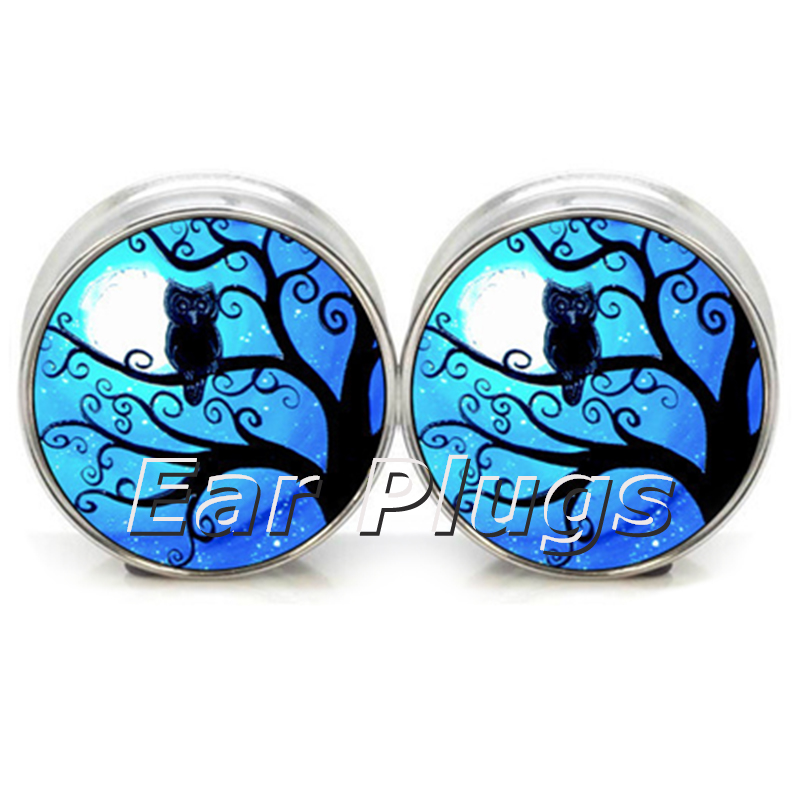 1 pair=2 pieces stainless steel night owl plug tunnels double flare ear plug gauges body piercing jewelry