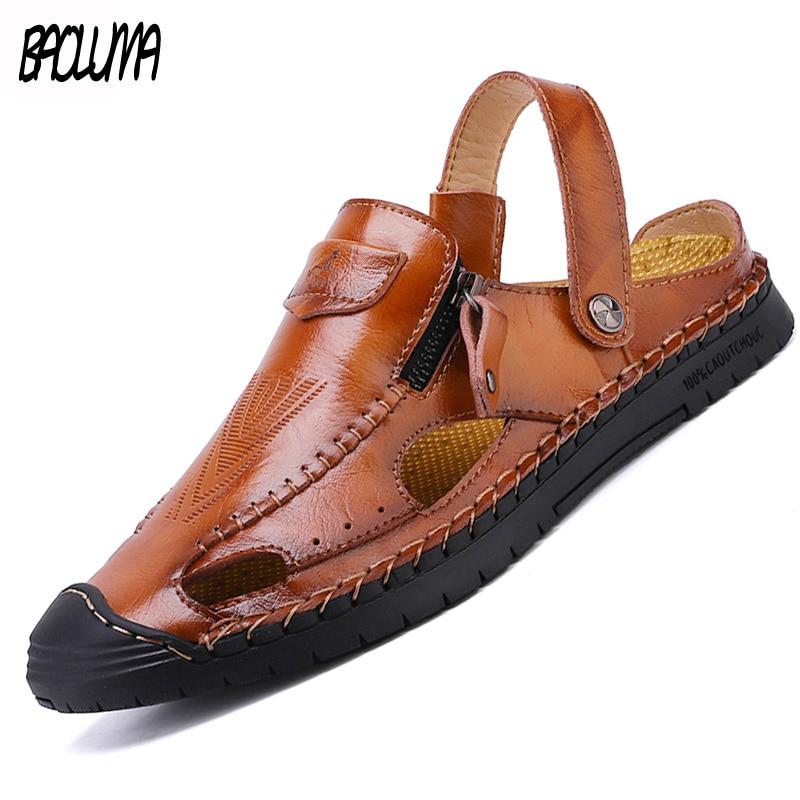 Classic Men's Sandals Shoes Breathable High Quality Leather Men Summer Beach Sandals Rubber Outsole Man Roman Sandals Big Size