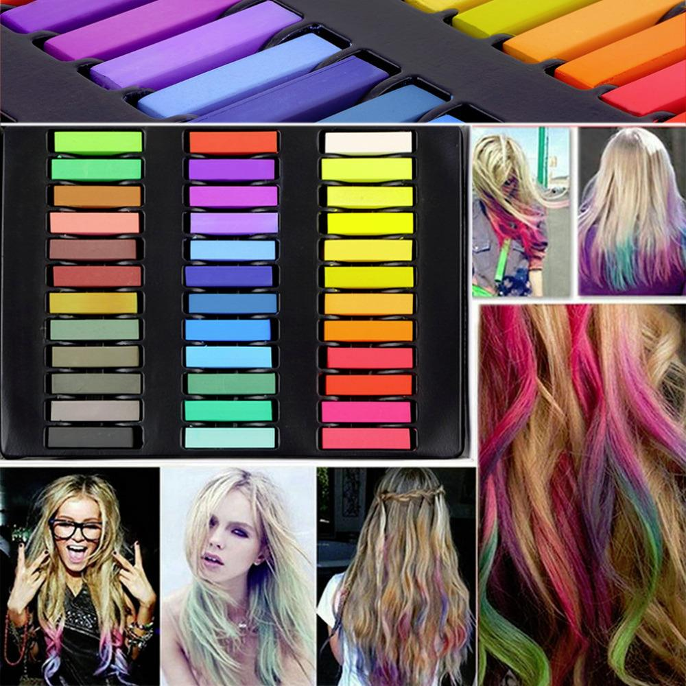 36 Colors Hair Dye Easy Temporary Colors Non toxic Hair Chalk Soft ...