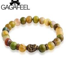 GAGAFEEL perlas de Buda Pulseras Brazaletes Pulseras Brazalete de Piedra Para Las Mujeres y Los Hombres de Joyería Fina 2016 Bracciali ulseiras