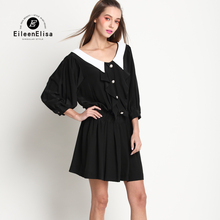 Luxury Summer Mini Dresses Womens Black Dress With White Collar 2017 Runway Ruffle