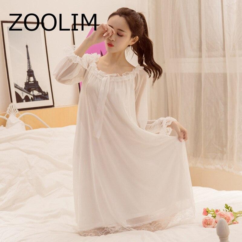 ZOOLIM   Nightgowns     Sleepshirts   2018 Lady Dresses Princess Lace Sleepwear Elegant   Nightgown   Home Dress Vintage Sleep & Lounge