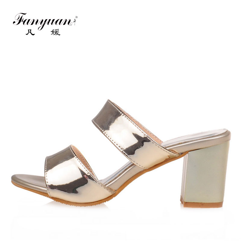 Fanyuan 2018 Fashion Women Slippers Bling Peep Toe Ladies High Heel Slides Chunky Heel Chanclas Mujer Concise Party Wear Shoes Fanyuan 2018 Fashion Women Slippers Bling Peep Toe Ladies High Heel Slides Chunky Heel Chanclas Mujer Concise Party Wear Shoes