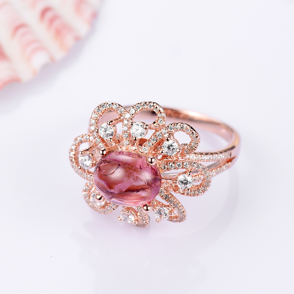 I&Zuan 925 Sterling Silver Jewelry Rings For Women Tourmaline Red ...