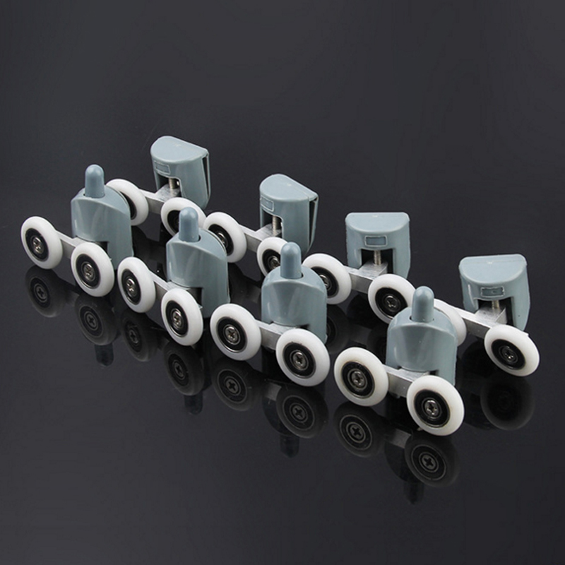 4pcs Twin Shower Door Rollers Runners Sliders Zinc Alloy 23mm Diameter Wheels