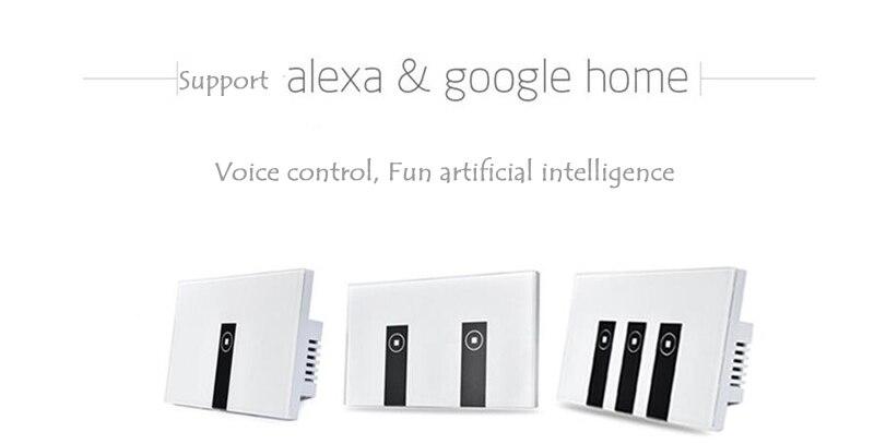Gorelax אוטומציה הבית חכמה מודול שלט רחוק אלחוטי Wifi כנופיית 2 עם זכוכית  קריסטל לוח מגע