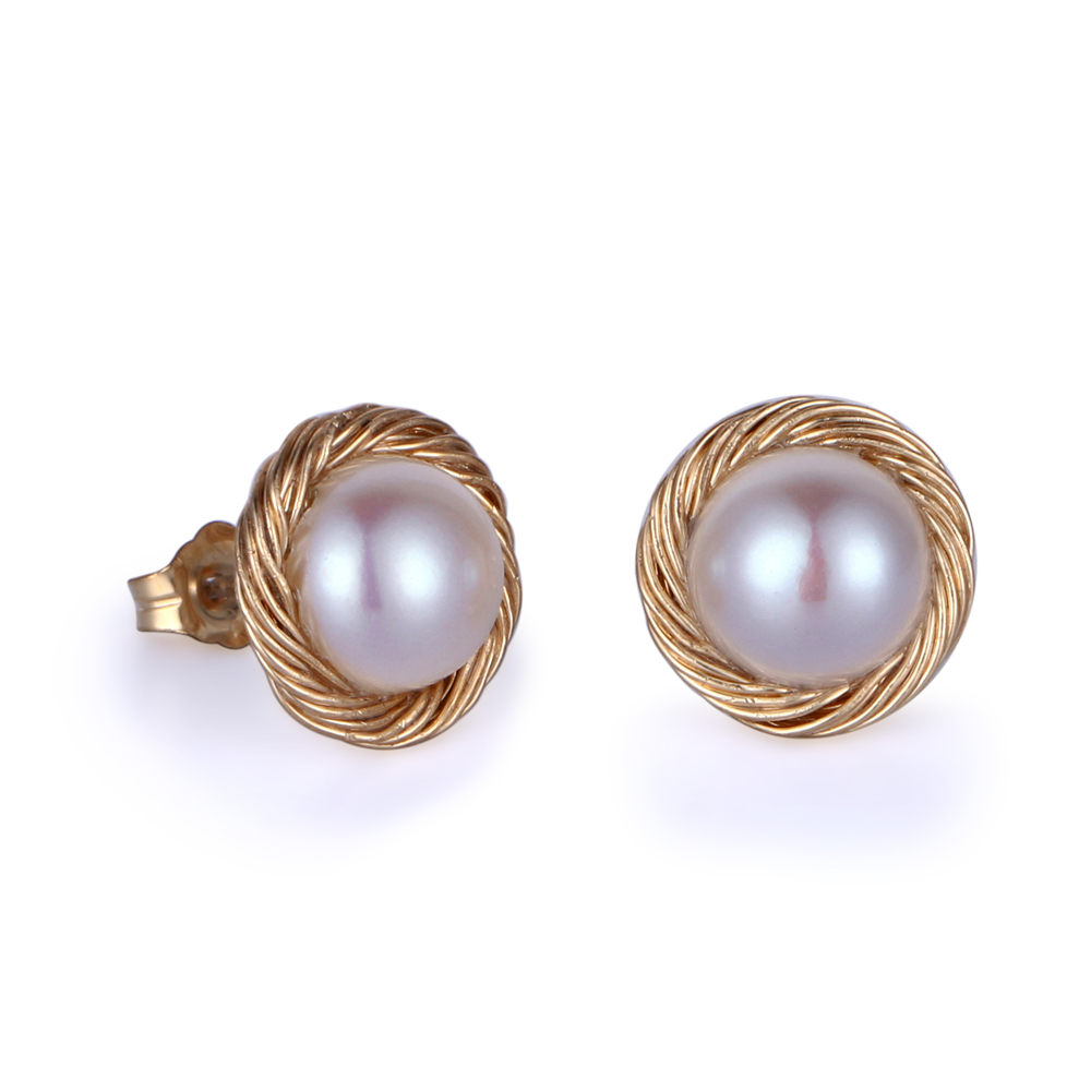 SG Featured Gold Earrings Baroque Freshwater Pearl Stud Earrings 8mm Round Natural Pearl Gold Wrapped Earrings For Women Jewelry