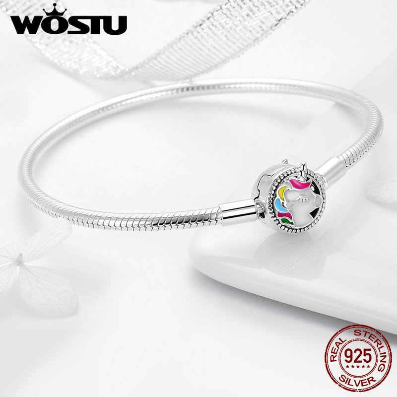 WOSTU высокого качества Настоящее серебро 925 проба Licorne браслет для женщин подходит оригинальный бренд DIY браслет из бисера ювелирные изделия DXB083