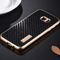 Fashion Metal Case For Samsung Galaxy S7 / S7 Edge Cover Luxury Real Carbon Fiber Phone Cases For Samsung Galaxy S7 Edge Fundas