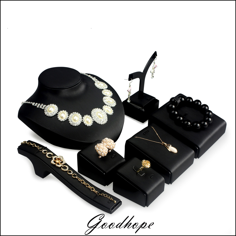 7 Pc BLACK DISPLAY SET FAUX LEATHER JEWELRY SHOWCASE STAND ...