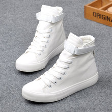цены на 2019 Spring New Fashion High Top Sneakers Womens Canvas Shoes Women Casual Shoes White Lace Up Flats Trainers Chaussure Femme  в интернет-магазинах