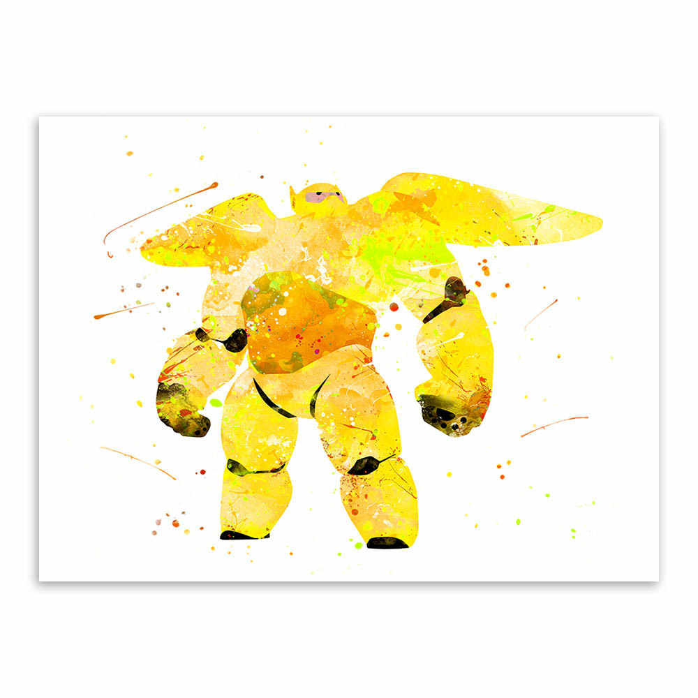 Watercolor Lovely Baymax Film Poster Modern Creative Children's Room Decorative Hanging Pictures Canvas Painting Wall Art