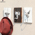 Owl elk Hanging clothes hooks Environmental resin head animal keys hanging clothing shop wall wall decoration