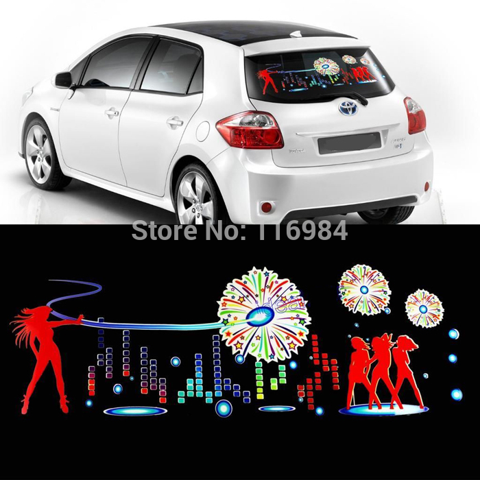 90x25cm Car Firework Dancer Sticker Music Rhythm Led Flash Lamp Sound Activated Equalizer A Great Variety Of Goods