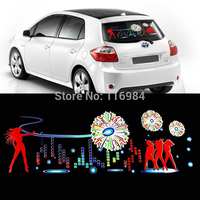 90x25cm Car Firework Dancer Sticker Music Rhythm LED Flash Lamp Sound Activated Equalizer