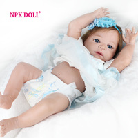 NPKDOLL Fashion Bonecas Princess Doll Reborn For Girls Reborn Baby Doll Realistic 22 Inch Vinyl Full Silicone Dolls Toys
