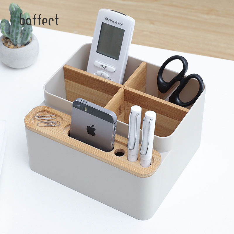 Wooden Plastic Remote Control Phone Pen Office Storage Box Desktop Cosmetic Finishing Box Bathroom Dressing Table Dressing Case
