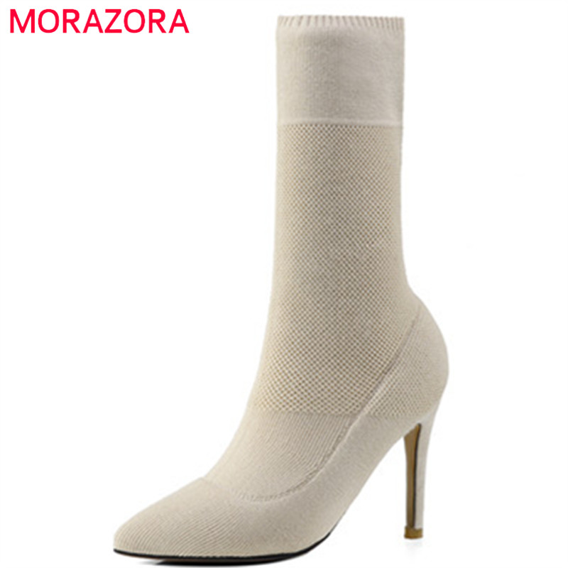 MORAZORA Woolen pointed toe thin heels boots for women fashion shoes elegant mid calf boots spring autumn big size 34-41 цены онлайн