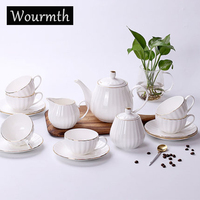 WOURMTH 15PCS High quality bone China Coffee Cup White Pumpkin Stripe Drinkware Porcelain Cup Coffeepot Tea cup saucer set