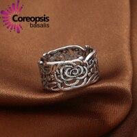 Партия настоящее кольцо стерлингового серебра 925 Для женщин большое число верхняя мужская мода мужчины растительных цветок Кольца Для мужч...