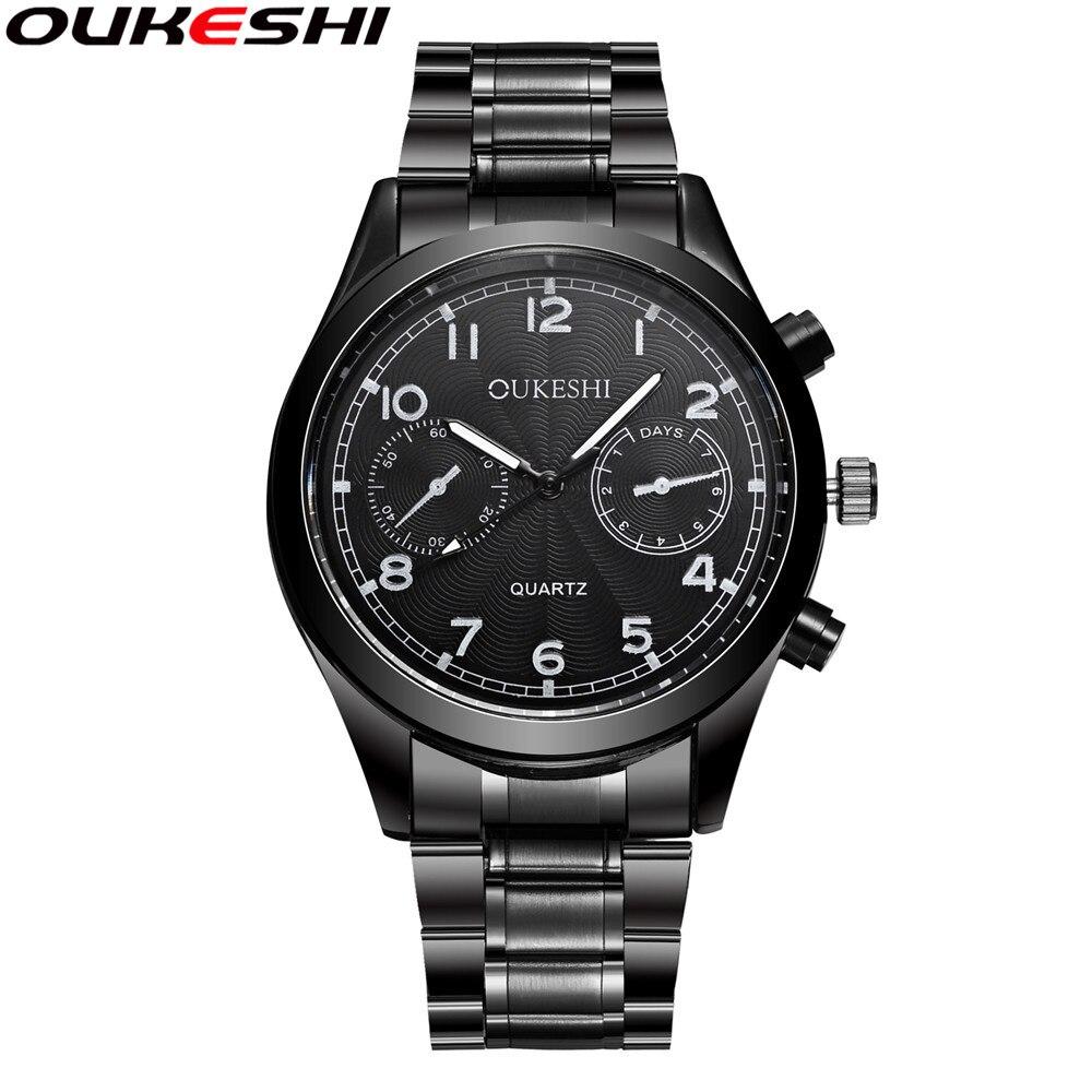 OUKESHI Brand Stainless Steel Watches Men Simple Fashion Black Quartz Wristwatches Relogio Masculino Horloges Mannen Clock