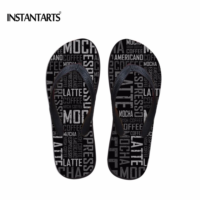 967f2324b INSTANTARTS Summer Men s Casual Beach Flip-flops Classic Letters Designs Flip  Flops for Male Men