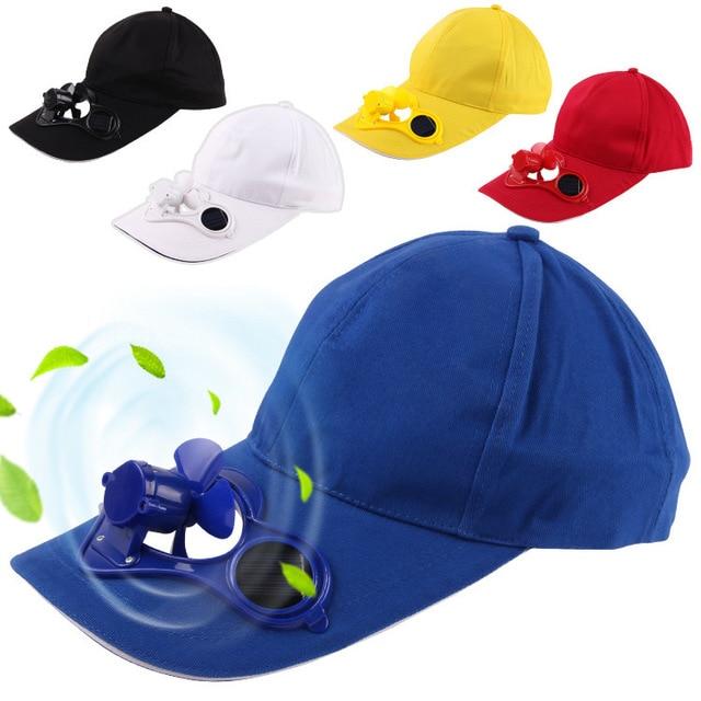 cbaca12ecfa 2018 New Hot Men Women Solar Power Sun Baseball Hats With Cooling Fan  Summer Boys Girls Funny Caps Camping Traveling