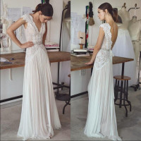 Boho Weeding Dresses Bohemian Wedding Gowns with Belt Crystals Deep V Neck Open Back Custom Made A line Bridal Gowns