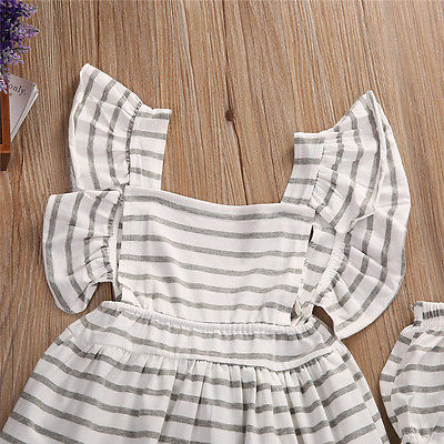2pcsNewborn-Baby-Girl-Dress-Infant-Striped-Fly-Sleeve-Bowknot-DressShorts-Bottom-Clothes-Outfit-5
