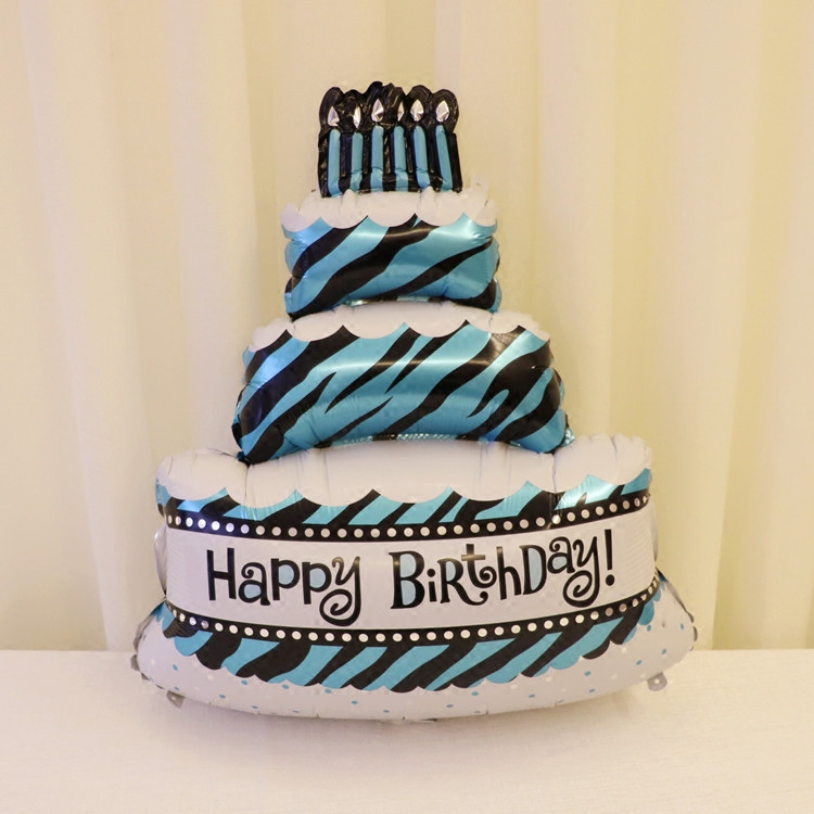 Cake Large Balloons Blue Happy Birthday Helium Balloon