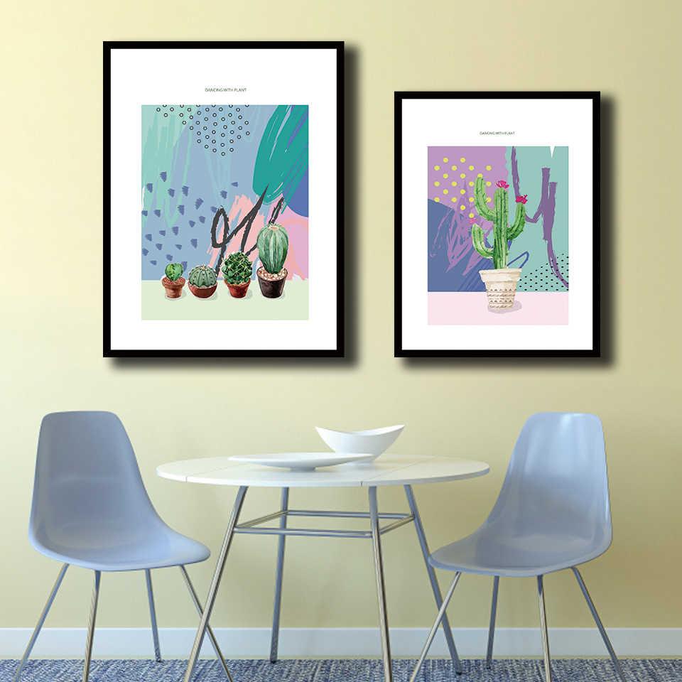 Скандинавский акварельный стиль напечатанная Картина на холсте граффити кактус картины в горшке постер с растением настенное искусство для гостиной домашний декор