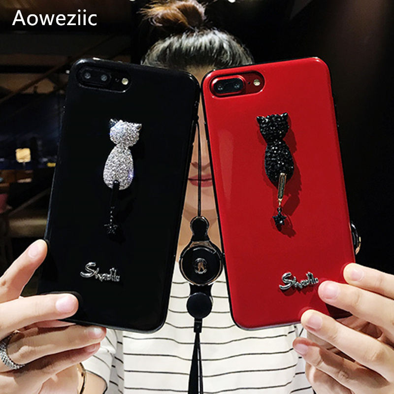 Aoweziic Europe tide brand luxury rhinestone kitten For iPhoneX 7 8plus 6s phone case lanyard silicone case all inclusive women