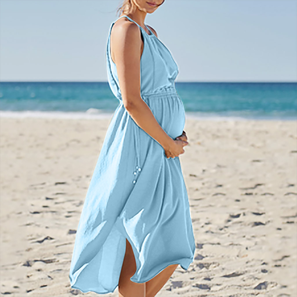 Women Strap Maternity Dresses Sleeveless Pregnancy Clothes 2019 Summer Solid Belt Beach Dress For Pregnant A08#25 Refreshing And Enriching The Saliva Mother & Kids