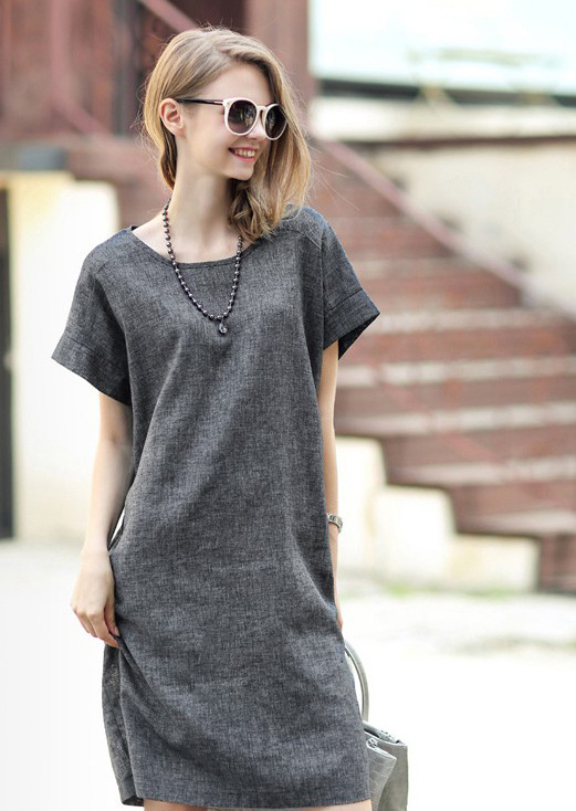 Casual Summer Loose Large Plus Size Short Sleeve Long Shift Grey ...