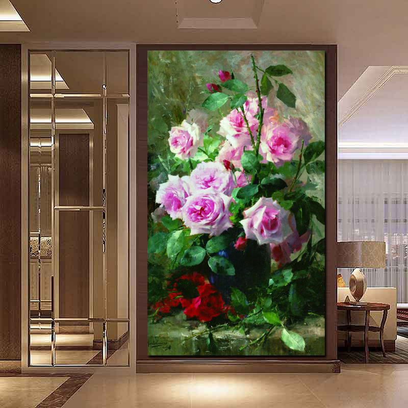 HD Print Modern Watercolor Flowers in Vase Floral Oil Painting on Canvas Poster Wall Picture for Living Room Sofa Cuadros Decor (2)