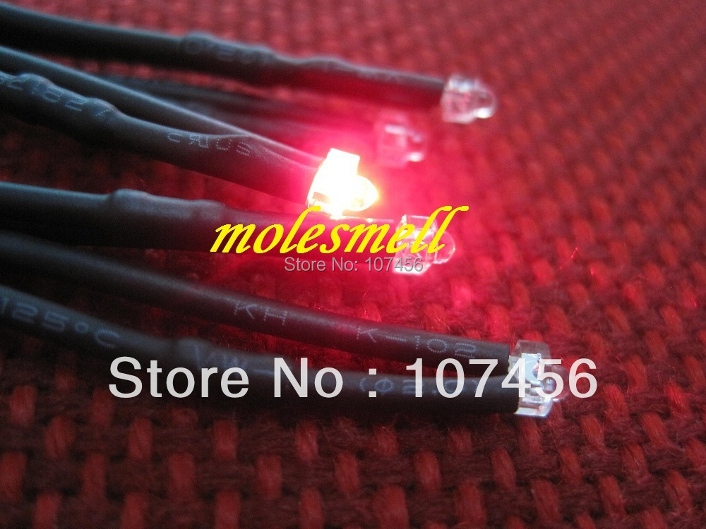 Free shipping 20pcs 1.8mm red LED Lamp Light Set Pre-Wired 1.8mm 12V red 12v DC Wired