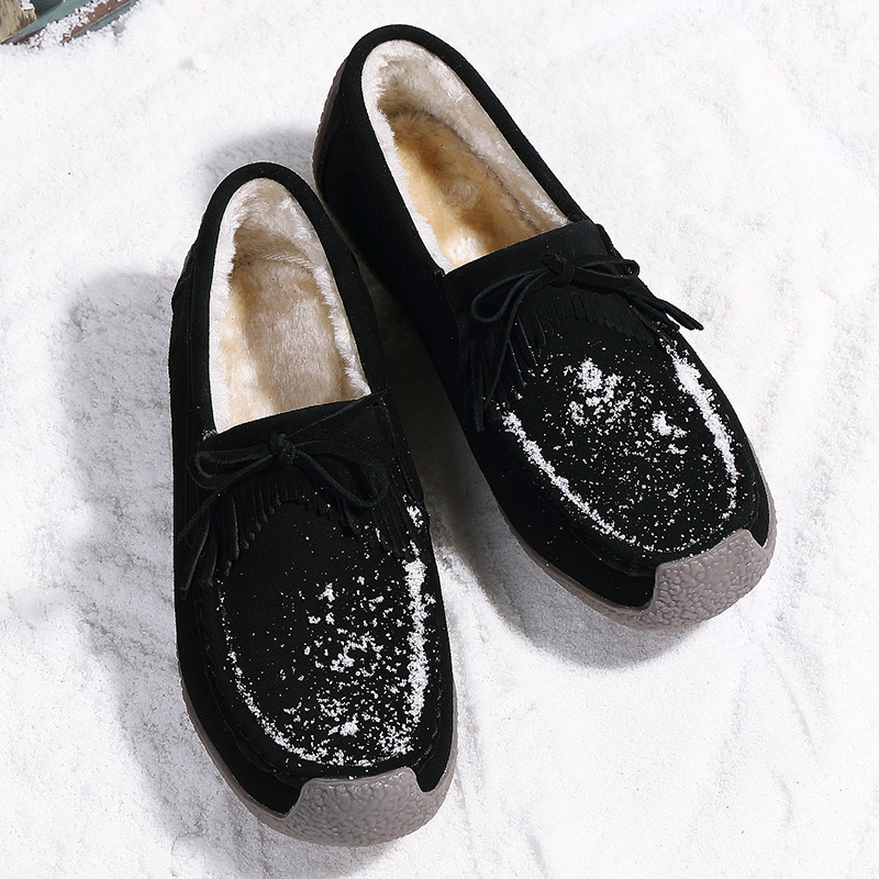 5c7dd54a9f3 YIERFA Winter Cow Suede Tassels Loafers Fur Inside Warm Gommini Women Shoes  Soft Flats Female Shoes Womens Footwear Round Toe-in Women s Flats from  Shoes on ...