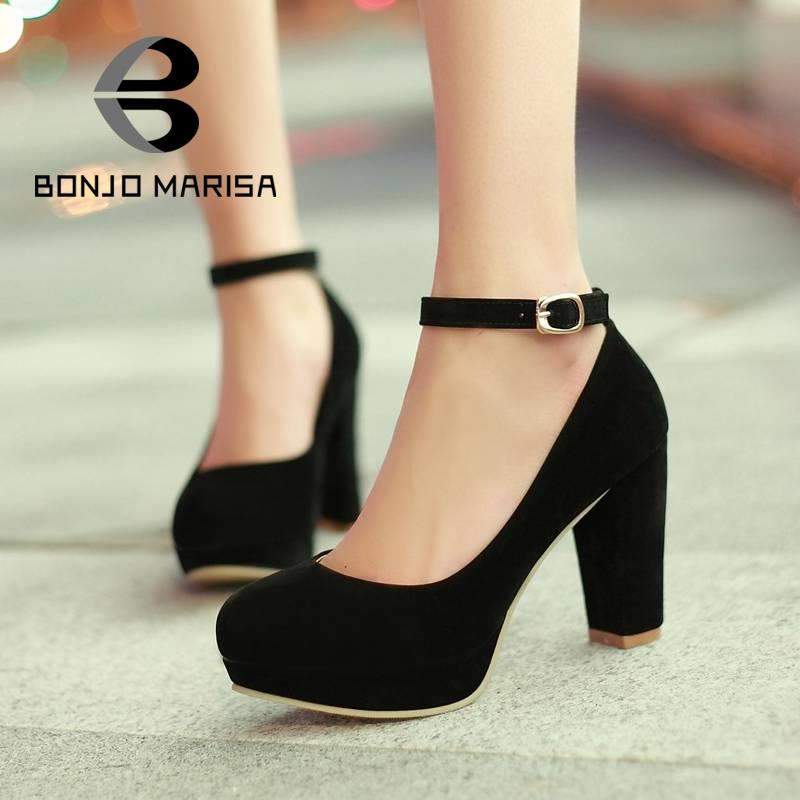 ФОТО Fashion Ankle Strap Pointed toe Platform Pumps 2015 Brand Thick High Heel Shoes Casual Party Spring Autumn Shoes Women Pumps
