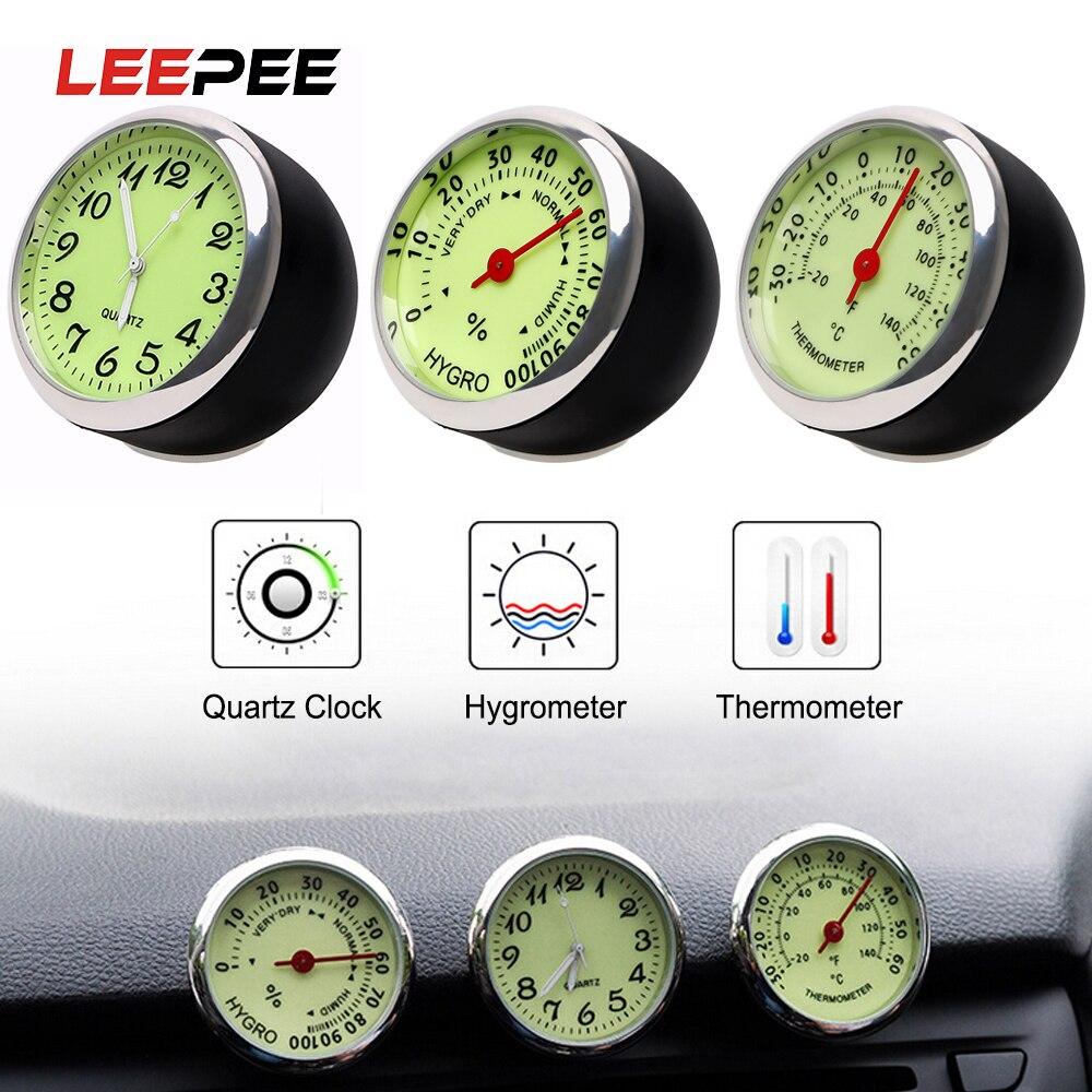 LEEPEE Car Clock Thermometer Hygrometer Quartz Watch Decoration Mini Luminous Car-Styling Ornaments Mechanics Black Silver
