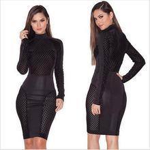 autumn ladies women's clothing fashion Slim Skinny Bandage Bodycon sheath Sexy & Club Mesh hollow out dresses X011