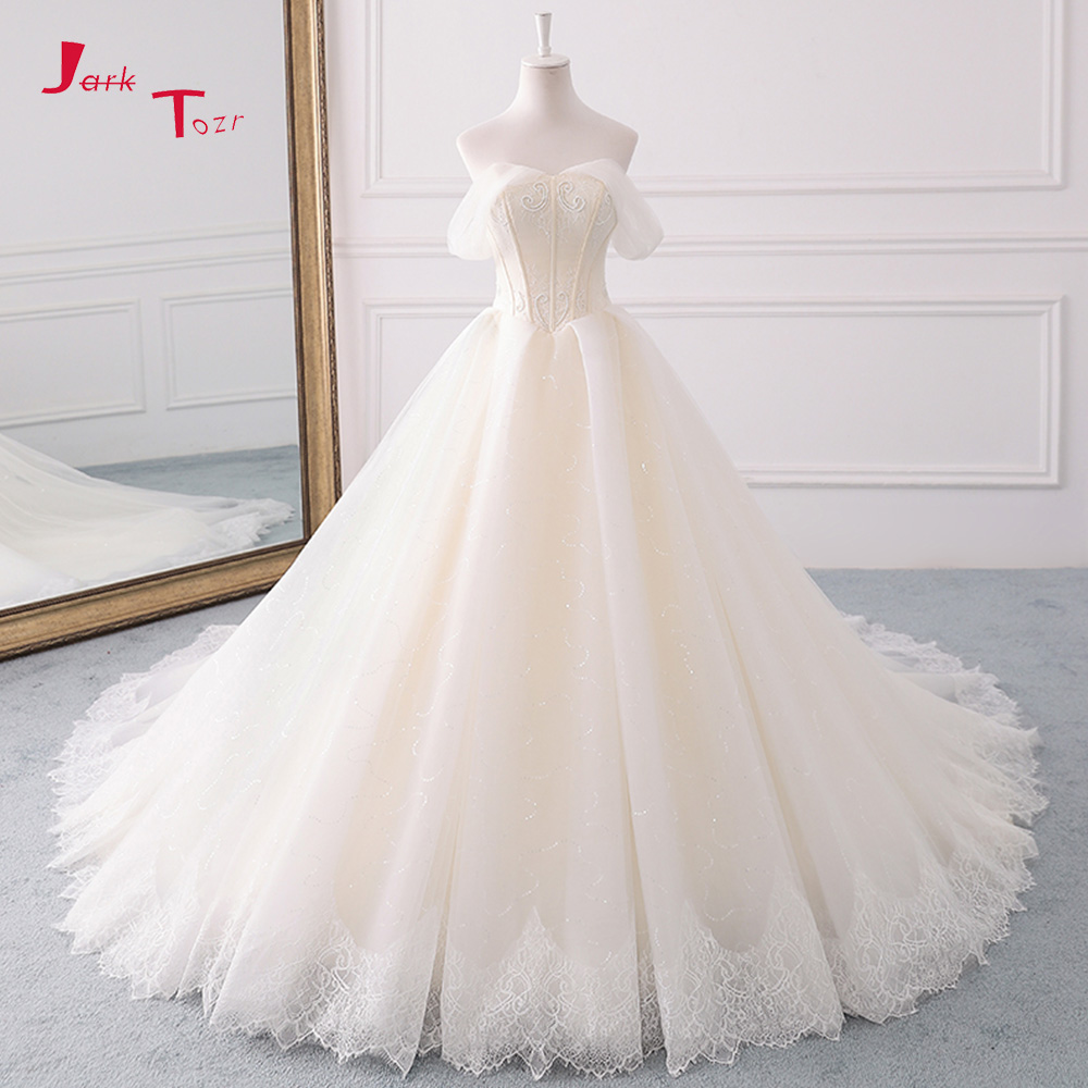 Jark Tozr 2019 Princess A line Wedding Dresses Plus Size Vestido De Casamento Pearls Lace Bridal