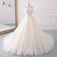 Jark Tozr 2018 принцесса Свадебные платья А плюс Размеры Vestido De Casamento жемчуг кружева Свадебное платье Бисер Robe De Mariage