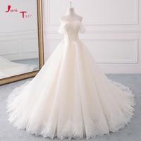 Jark Tozr 2018 Princess A line Wedding Dresses Plus Size Vestido De Casamento Pearls Lace Bridal Dress Beading Robe De Mariage