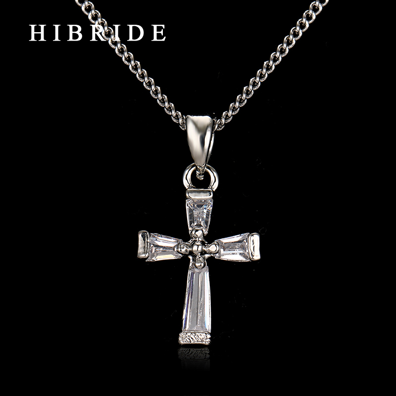 HIBRIDE JEWELRY White Black Cubic Zirconia Cross Pendant Necklace Luxury Chorker Necklace for Women Gifts N-58