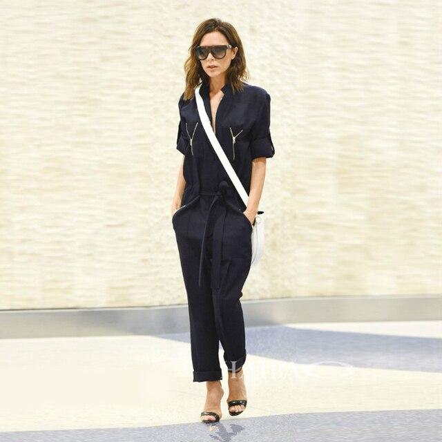 Случайные Комбинезоны 2017 Лето Европейский Стиль Новый Коротким Рукавом Шнуровкой Женская Мода Свободный Черный Элегантный Комбинезон