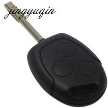 Jingyuqin 3 кнопки лезвие Uncut дистанционного Ключи В виде ракушки Дело брелок Чехлы для мангала для Ford Focus Mondeo Festiva Fusion костюм Fiesta KA