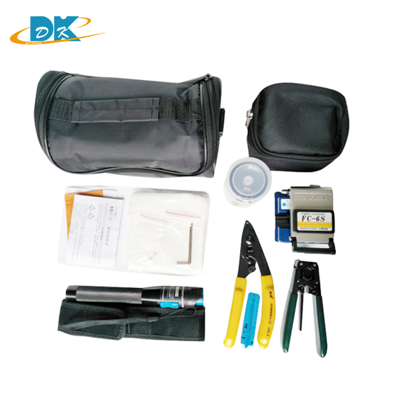 8 in 1 Fiber Optic FTTH Tool Kit with FC-6S Fiber Cleaver Optical Power Meter 5km FC-6 High Precision Fiber Cleaver