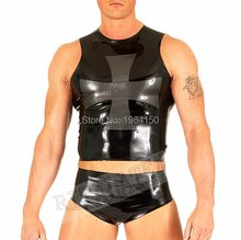 Rubber Latex Midi Shorts With Skin Tight Latex Top Sexy Men's Latex Garment Latex Shirts