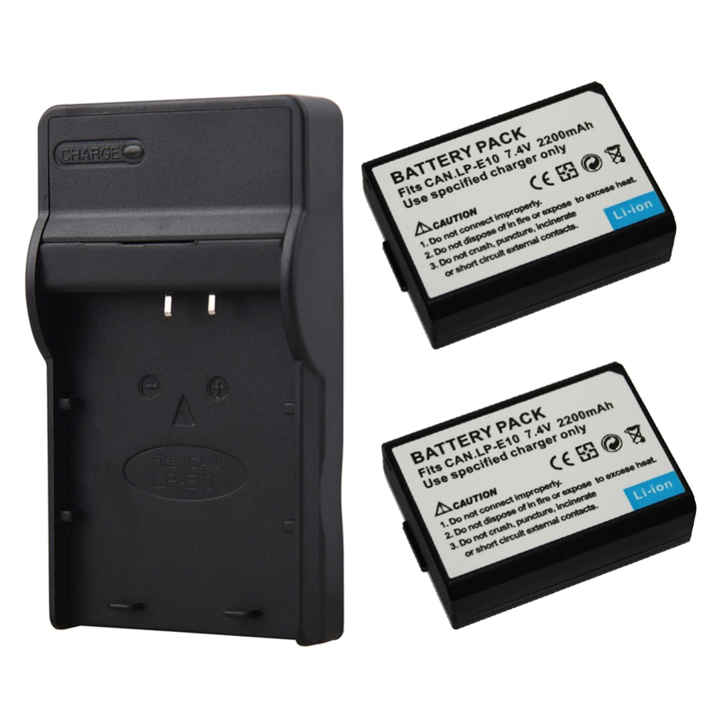 2x 2200mAh LP-E10 LP E10 LPE10 Digital Camera Battery + USB Charger For Canon 1100D 1200D 1300D Rebel T3 T5 KISS X50 X70 ac battery charger cradle for canon nb5l digital camera