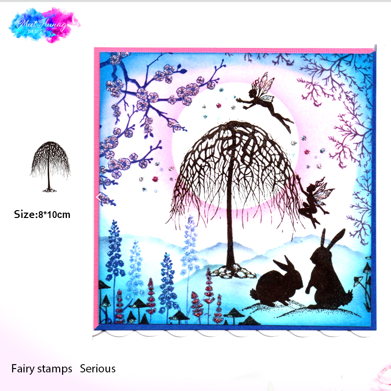 Fairy Tree Silicone Transparent Rubber Stamp Background Clear Stamps DIY Scrapbooking Card Maki